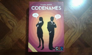 Codenames game box.