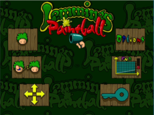 Lemmings Paintball Main Menu