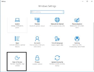 Windows Settings - Select Ease of Access