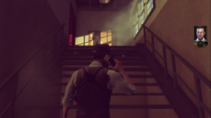 Just casually walking up these stairs at a reduced speed talking to my superior officer on the telephone while all mayhem is breaking loose around me.