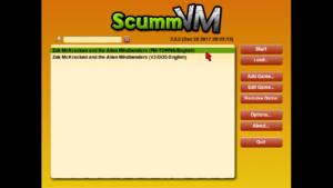 The ScummVM Menu for Zak McKracken and The Alien Mindbenders