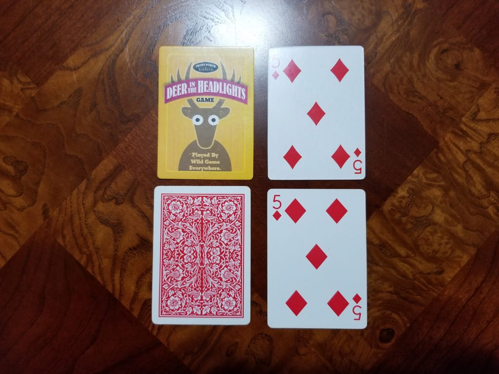 The Deer in the Headlights cards are standard playing cards.